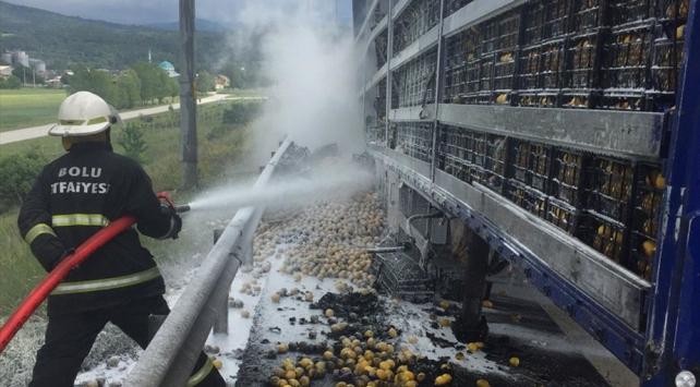 seyir halindeki limon yüklü tır Aracında yangın