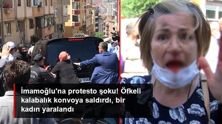 İmamoğlu'nu protesto eden grup makam aracına saldırdı: Bir kadın yaralandı